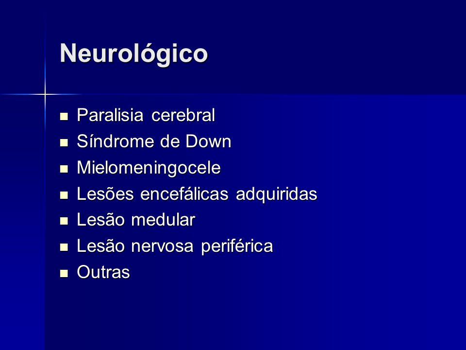 Neurológico Paralisia cerebral Paralisia cerebral Síndrome de Down Síndrome de Down Mielomeningocele Mielomeningocele Lesões encefálicas adquiridas Le