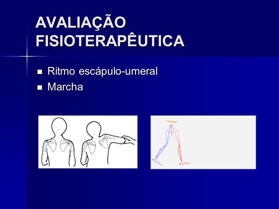 AVALIAÇÃO FISIOTERAPÊUTICA Ritmo escápulo-umeral Ritmo escápulo-umeral Marcha Marcha
