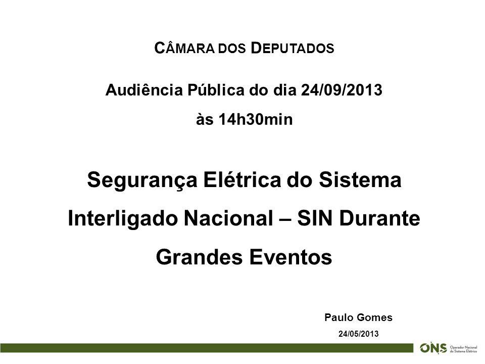 C ÂMARA DOS D EPUTADOS Paulo Gomes 24/05/2013 Audiência Pública do dia 24/09/2013 às 14h30min Segurança Elétrica do Sistema Interligado Nacional – SIN