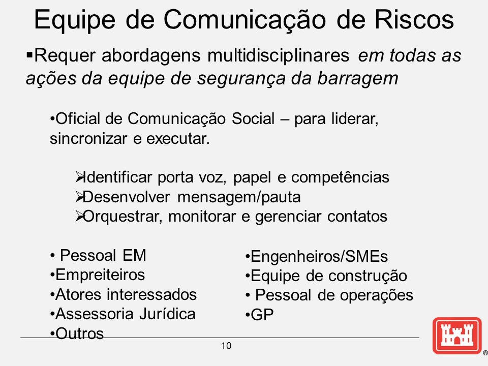 Equipe de Comunicação de Riscos 10  Requer abordagens multidisciplinares em todas as ações da equipe de segurança da barragem Oficial de Comunicação Social – para liderar, sincronizar e executar.