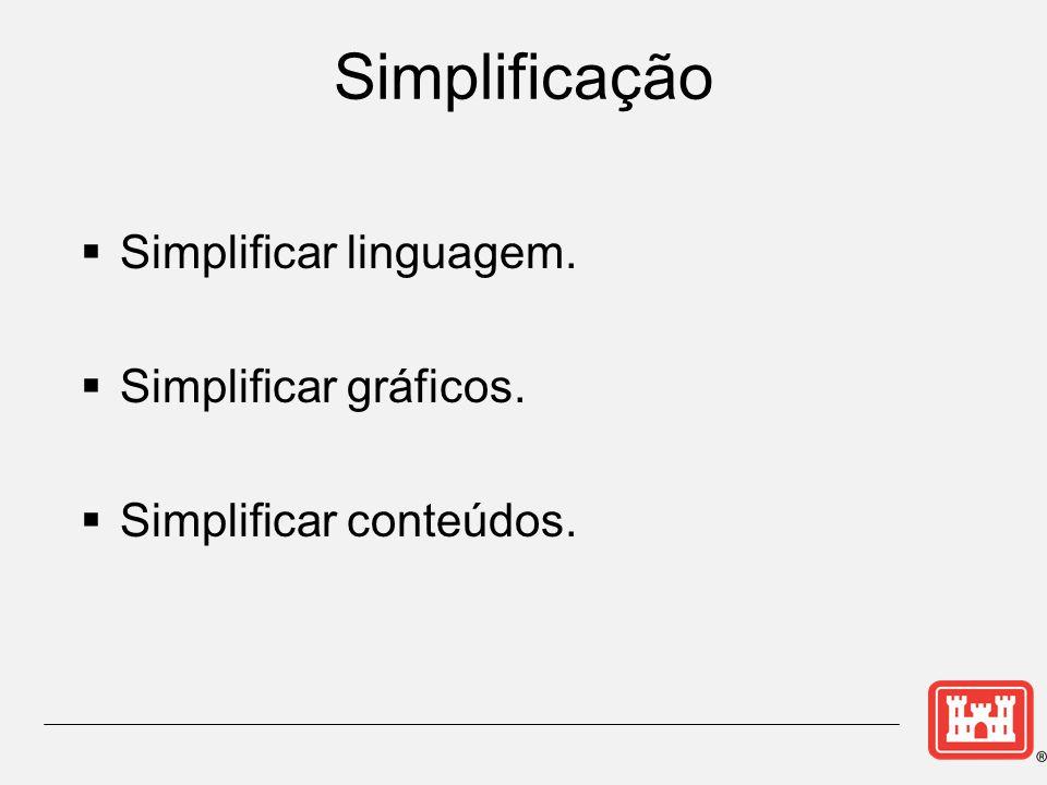 Simplificação  Simplificar linguagem.  Simplificar gráficos.  Simplificar conteúdos.