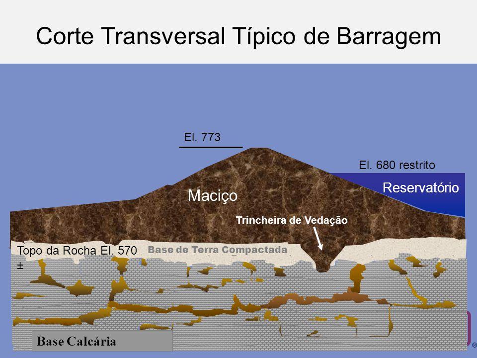Base de Terra Compactada Reservatório Maciço Trincheira de Vedação Base Calcária El.