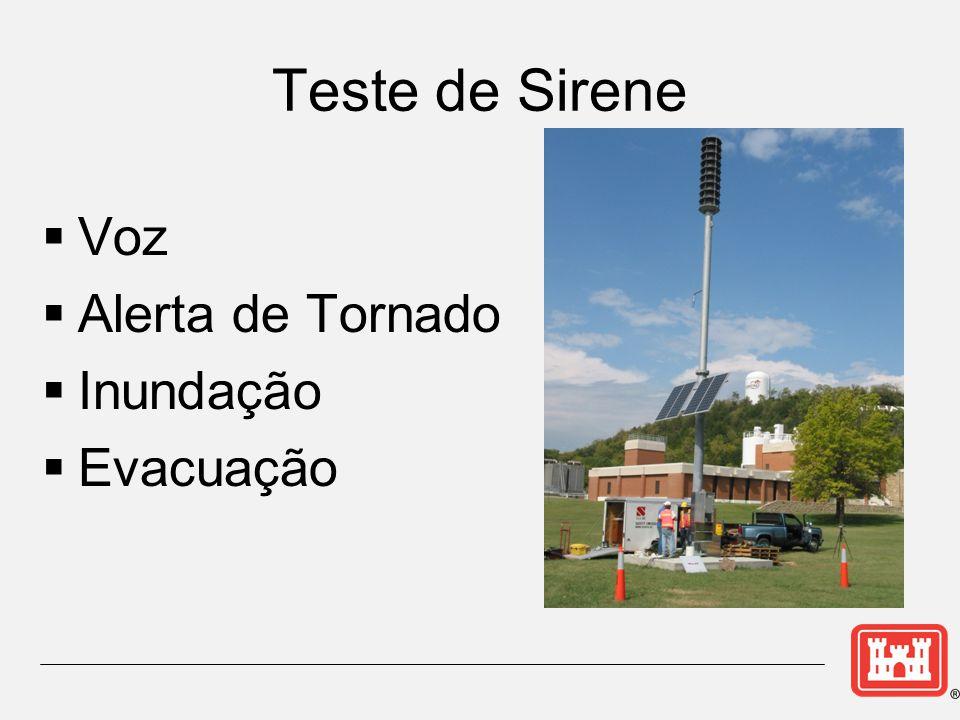 Teste de Sirene  Voz  Alerta de Tornado  Inundação  Evacuação