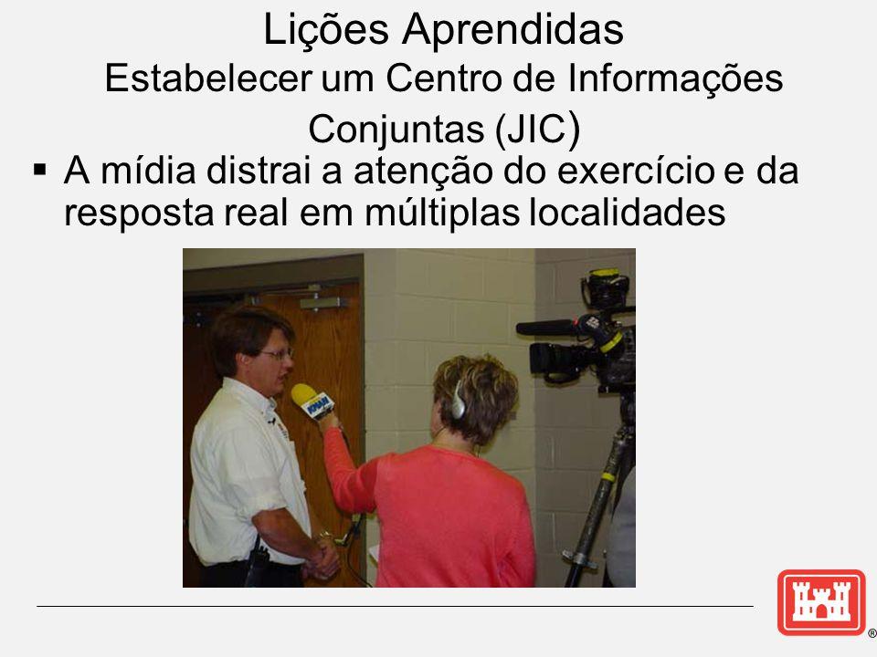 Lições Aprendidas Estabelecer um Centro de Informações Conjuntas (JIC )  A mídia distrai a atenção do exercício e da resposta real em múltiplas localidades