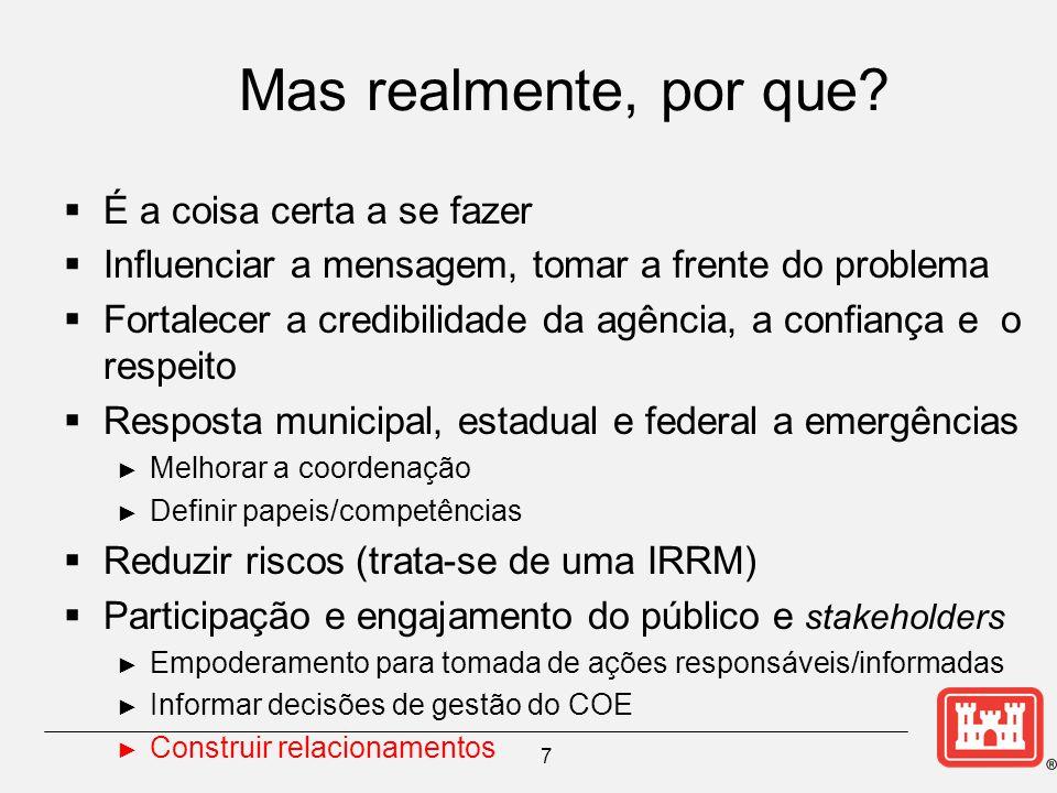 Preparação e Planejamento  Capacitação em comunicação de riscos/crises/mídia.