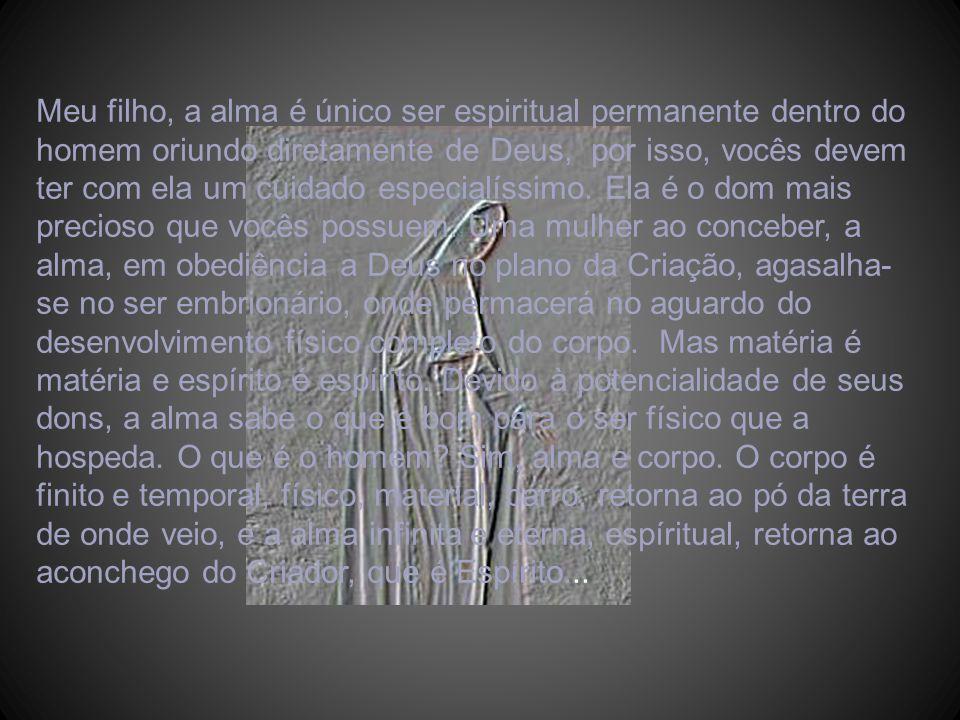 Meu filho, a alma é único ser espiritual permanente dentro do homem oriundo diretamente de Deus, por isso, vocês devem ter com ela um cuidado especialíssimo.