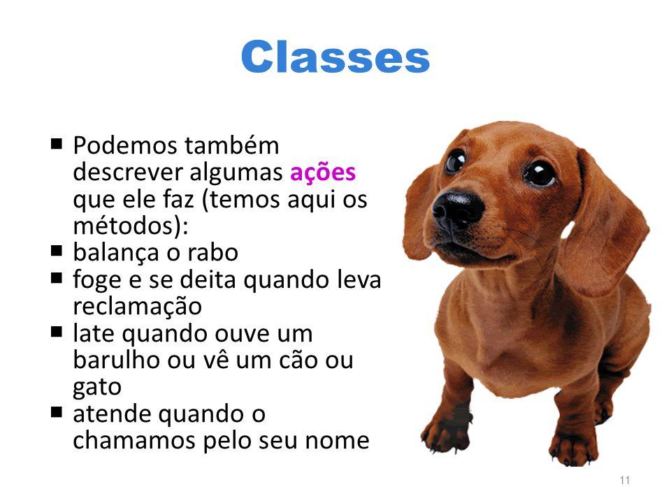 Classes  Podemos também descrever algumas ações que ele faz (temos aqui os métodos):  balança o rabo  foge e se deita quando leva reclamação  late quando ouve um barulho ou vê um cão ou gato  atende quando o chamamos pelo seu nome 11