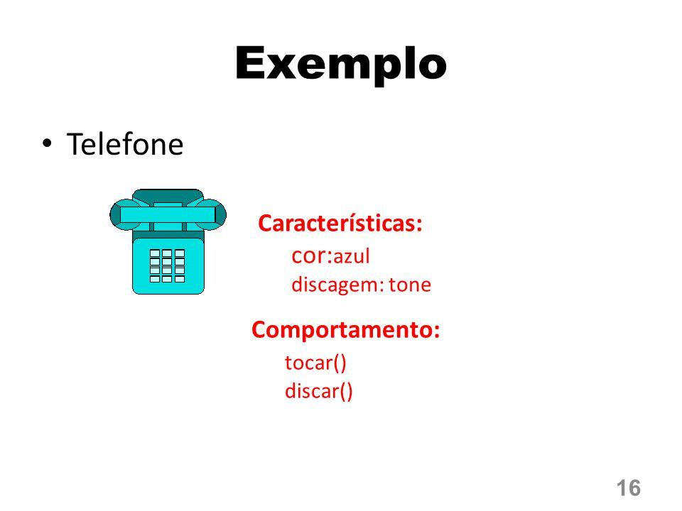 Telefone 16 Exemplo Características: cor: azul discagem: tone Comportamento: tocar() discar()