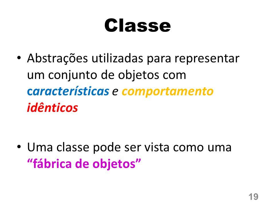 Classe Abstrações utilizadas para representar um conjunto de objetos com características e comportamento idênticos Uma classe pode ser vista como uma fábrica de objetos 19