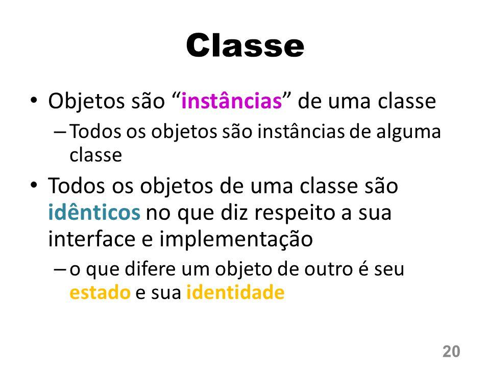 Classe Objetos são instâncias de uma classe – Todos os objetos são instâncias de alguma classe Todos os objetos de uma classe são idênticos no que diz respeito a sua interface e implementação – o que difere um objeto de outro é seu estado e sua identidade 20