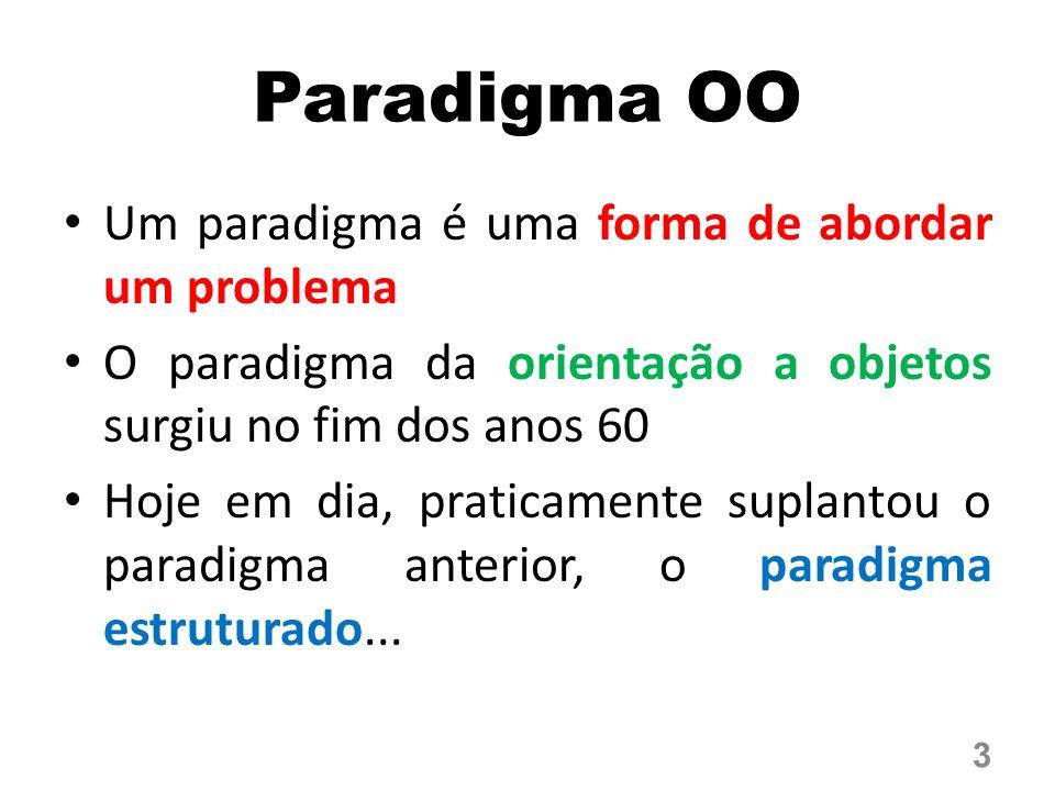 Paradigma OO Um paradigma é uma forma de abordar um problema O paradigma da orientação a objetos surgiu no fim dos anos 60 Hoje em dia, praticamente suplantou o paradigma anterior, o paradigma estruturado...