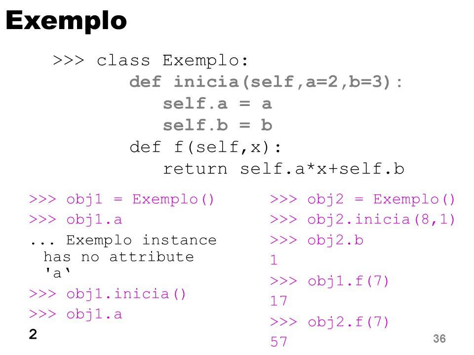Exemplo >>> obj1 = Exemplo() >>> obj1.a...