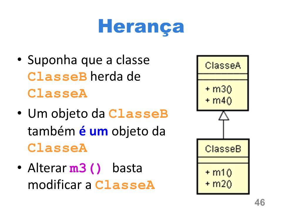 Suponha que a classe ClasseB herda de ClasseA Um objeto da ClasseB também é um objeto da ClasseA Alterar m3() basta modificar a ClasseA 46 Herança