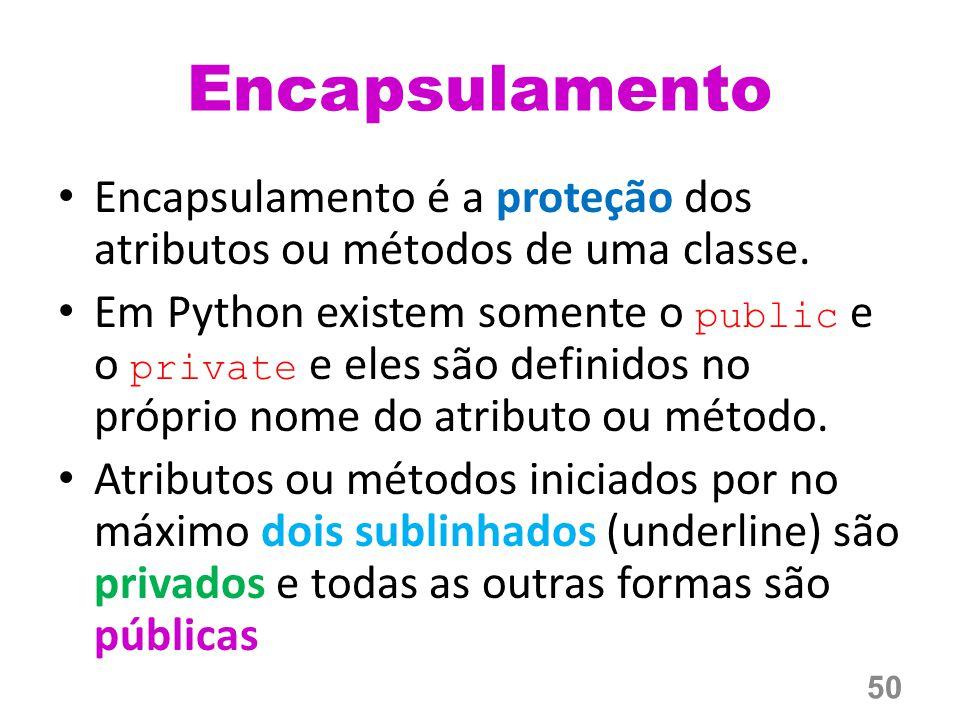 Encapsulamento é a proteção dos atributos ou métodos de uma classe.