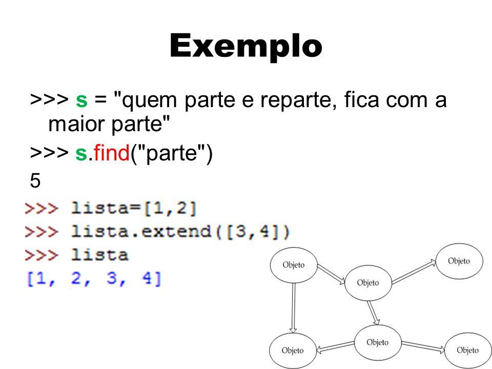 Exemplo >>> obj1 = Exemplo() >>> obj1.a 2 >>> obj1.b 3 >>> obj2 = Exemplo(8,1) >>> obj2.b 1 >>> obj1.f(7) 17 >>> obj2.f(7) 57 38 >>> class Exemplo: def __init__(self,a=2,b=3): self.a = a self.b = b def f(self,x): return self.a*x+self.b
