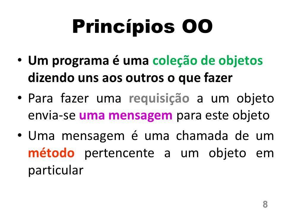 Princípios OO Um programa é uma coleção de objetos dizendo uns aos outros o que fazer Para fazer uma requisição a um objeto envia-se uma mensagem para este objeto Uma mensagem é uma chamada de um método pertencente a um objeto em particular 8