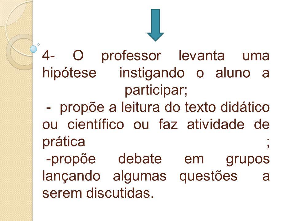 4- O professor levanta uma hipótese instigando o aluno a participar; - propõe a leitura do texto didático ou científico ou faz atividade de prática ;