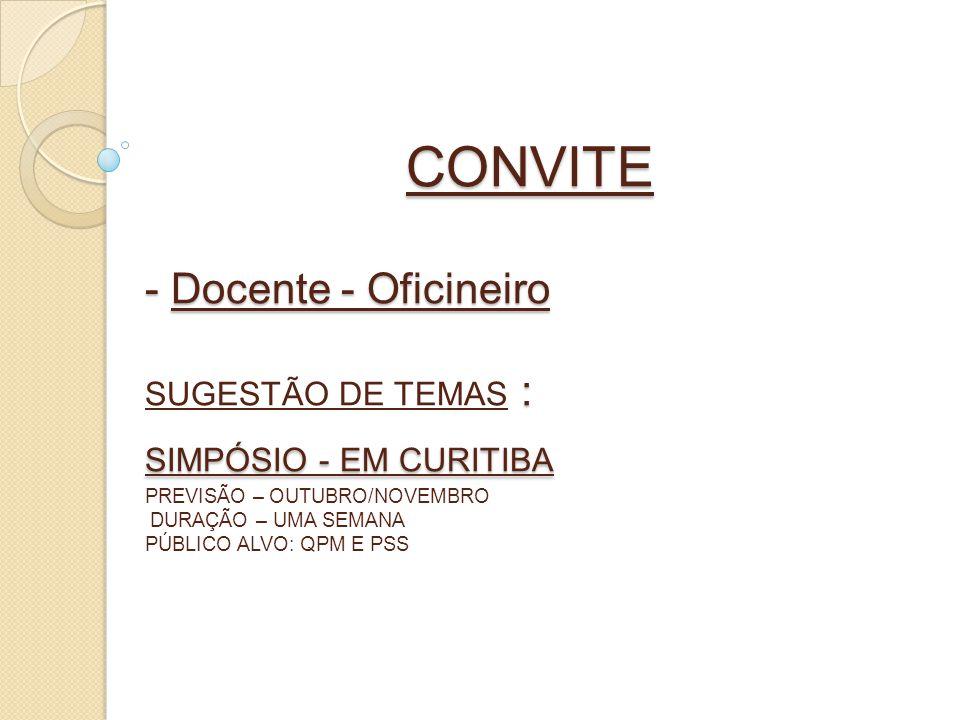 CONVITE - Docente - Oficineiro : SIMPÓSIO - EM CURITIBA CONVITE - Docente - Oficineiro SUGESTÃO DE TEMAS : SIMPÓSIO - EM CURITIBA PREVISÃO – OUTUBRO/N
