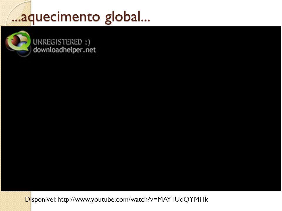 ...aquecimento global... Disponível: http://www.youtube.com/watch?v=MAY1UoQYMHk