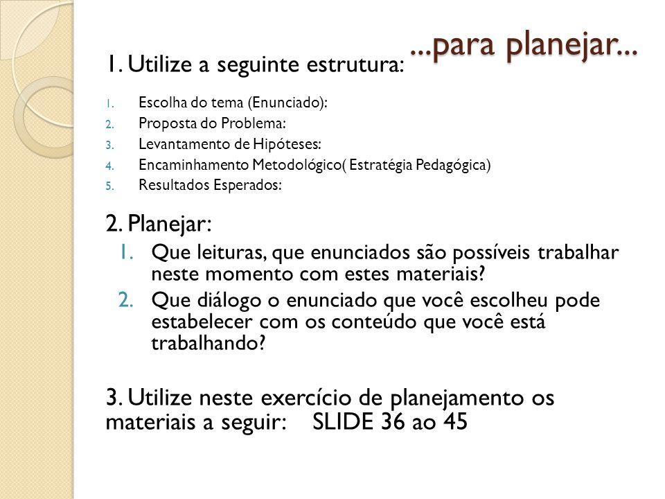 ...para planejar... 1. Utilize a seguinte estrutura: 1. Escolha do tema (Enunciado): 2. Proposta do Problema: 3. Levantamento de Hipóteses: 4. Encamin