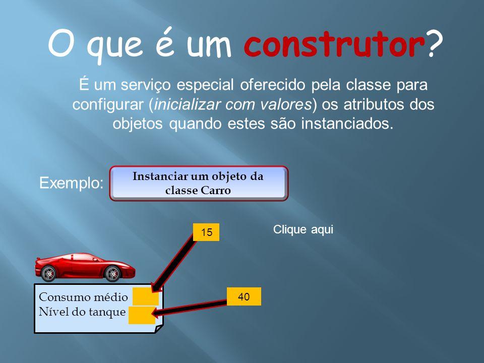 O que é um construtor? É um serviço especial oferecido pela classe para configurar (inicializar com valores) os atributos dos objetos quando estes são