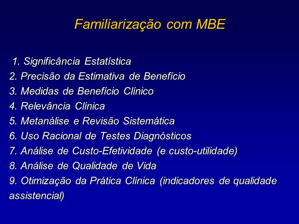1. Significância Estatística 2. Precisão da Estimativa de Benefício 3. Medidas de Benefício Clínico 4. Relevância Clínica 5. Metanálise e Revisão Sist