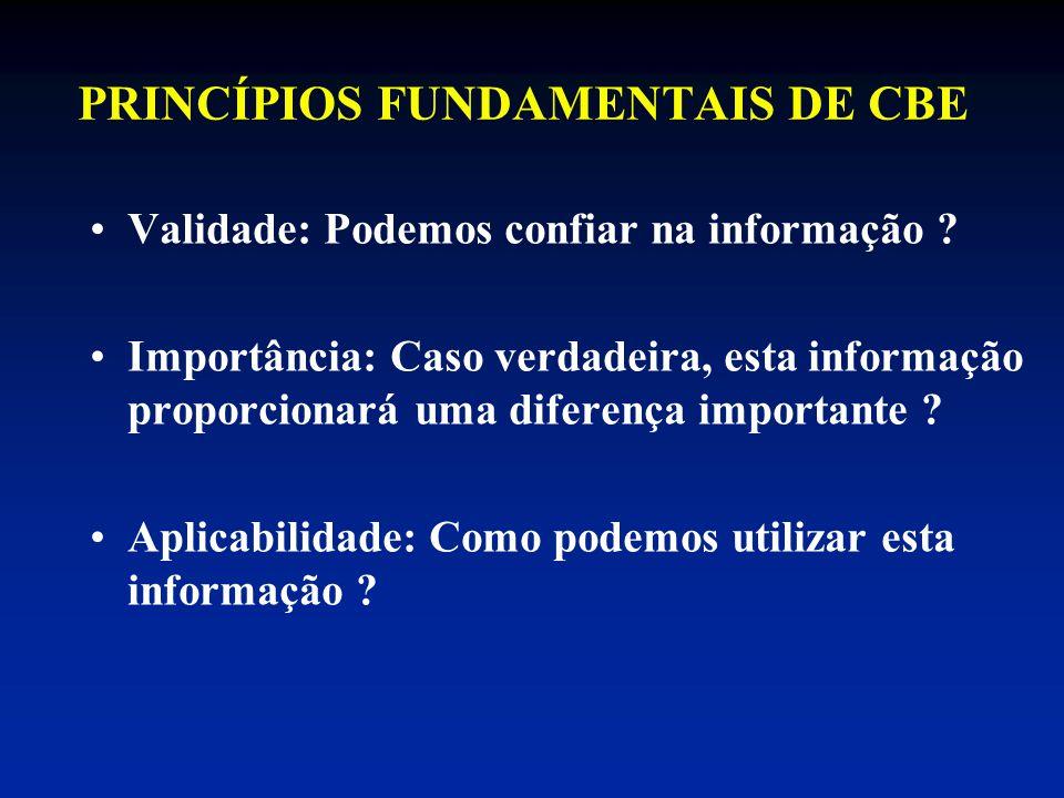 PRINCÍPIOS FUNDAMENTAIS DE CBE Validade: Podemos confiar na informação ? Importância: Caso verdadeira, esta informação proporcionará uma diferença imp