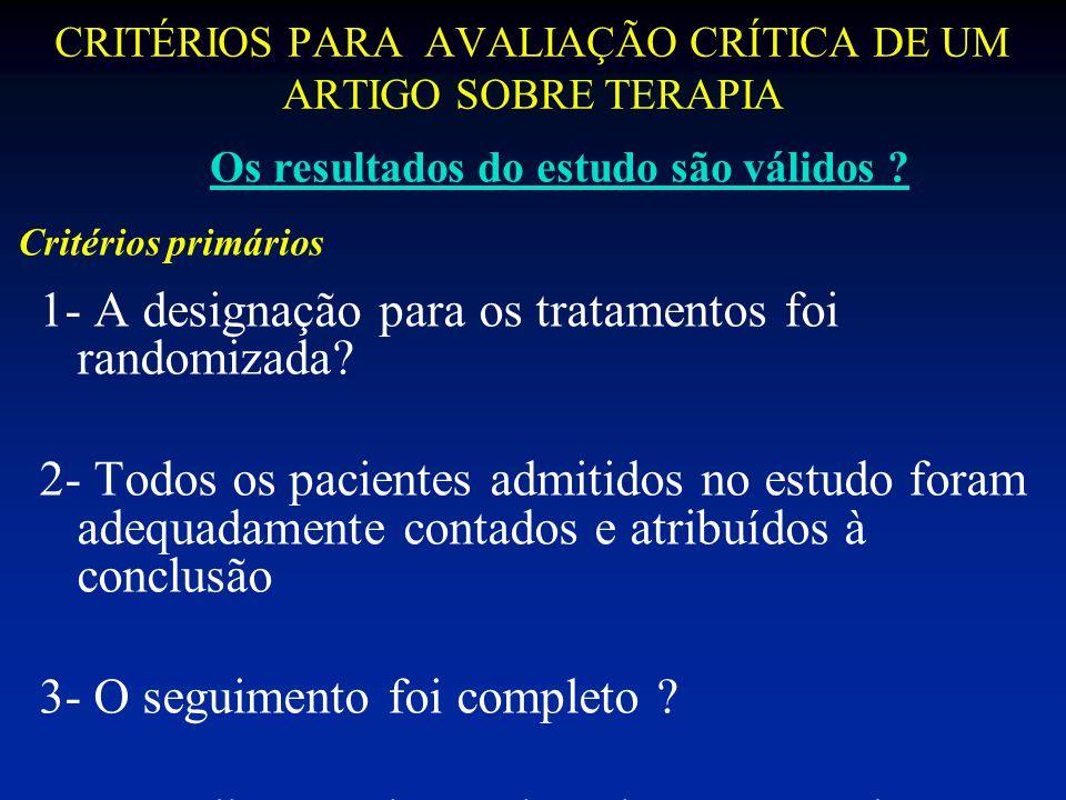 CRITÉRIOS PARA AVALIAÇÃO CRÍTICA DE UM ARTIGO SOBRE TERAPIA 1- A designação para os tratamentos foi randomizada? 2- Todos os pacientes admitidos no es
