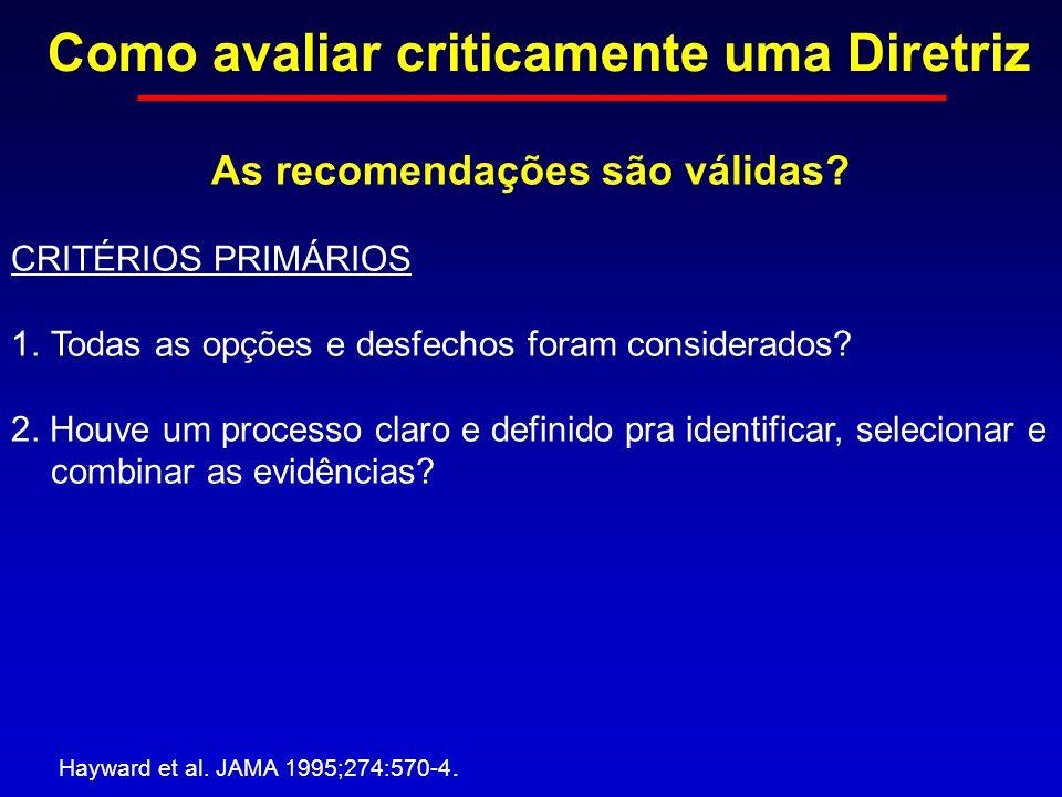 Como avaliar criticamente uma Diretriz Hayward et al. JAMA 1995;274:570-4. As recomendações são válidas? CRITÉRIOS PRIMÁRIOS 1.Todas as opções e desfe