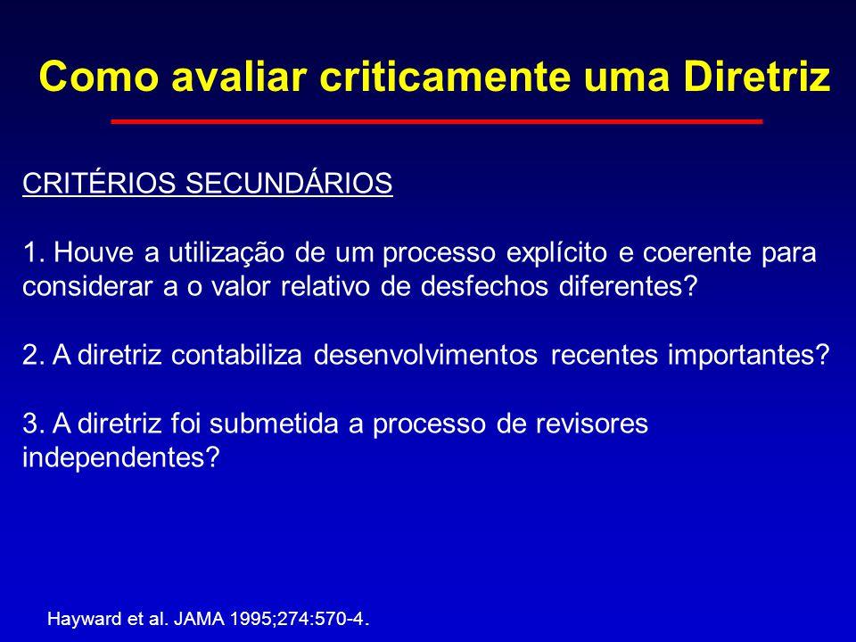 Como avaliar criticamente uma Diretriz Hayward et al. JAMA 1995;274:570-4. CRITÉRIOS SECUNDÁRIOS 1. Houve a utilização de um processo explícito e coer