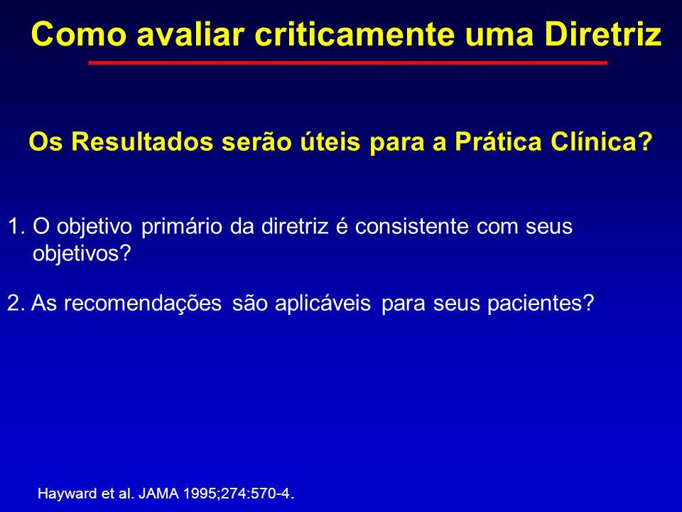 Como avaliar criticamente uma Diretriz Hayward et al. JAMA 1995;274:570-4. Os Resultados serão úteis para a Prática Clínica? 1.O objetivo primário da