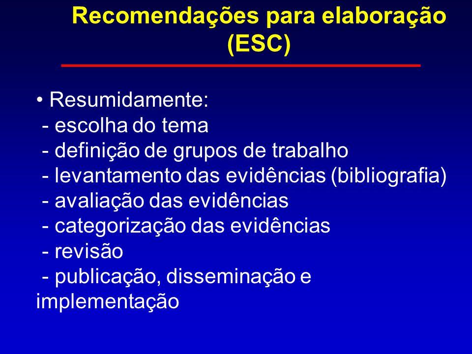 Recomendações para elaboração (ESC) Resumidamente: - escolha do tema - definição de grupos de trabalho - levantamento das evidências (bibliografia) - avaliação das evidências - categorização das evidências - revisão - publicação, disseminação e implementação