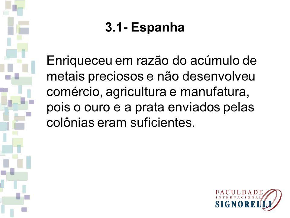 3.1- Espanha Enriqueceu em razão do acúmulo de metais preciosos e não desenvolveu comércio, agricultura e manufatura, pois o ouro e a prata enviados p