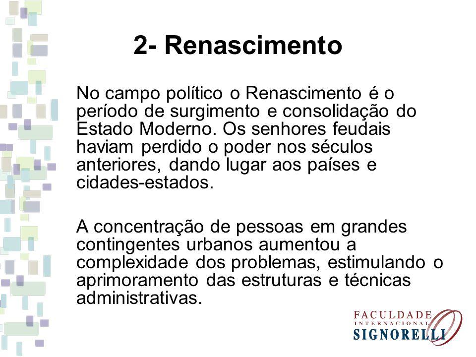 2- Renascimento No campo político o Renascimento é o período de surgimento e consolidação do Estado Moderno. Os senhores feudais haviam perdido o pode
