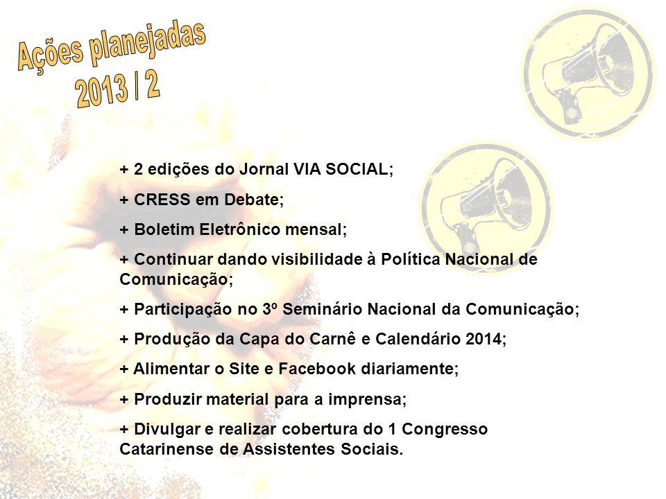 + 2 edições do Jornal VIA SOCIAL; + CRESS em Debate; + Boletim Eletrônico mensal; + Continuar dando visibilidade à Política Nacional de Comunicação; +