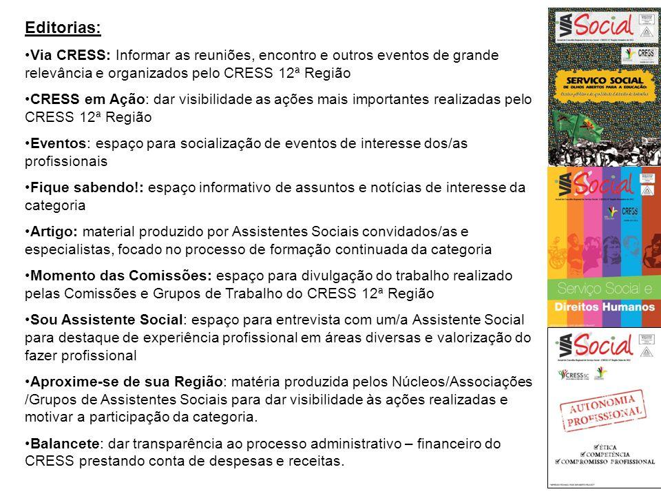 Editorias: Via CRESS: Informar as reuniões, encontro e outros eventos de grande relevância e organizados pelo CRESS 12ª Região CRESS em Ação: dar visi