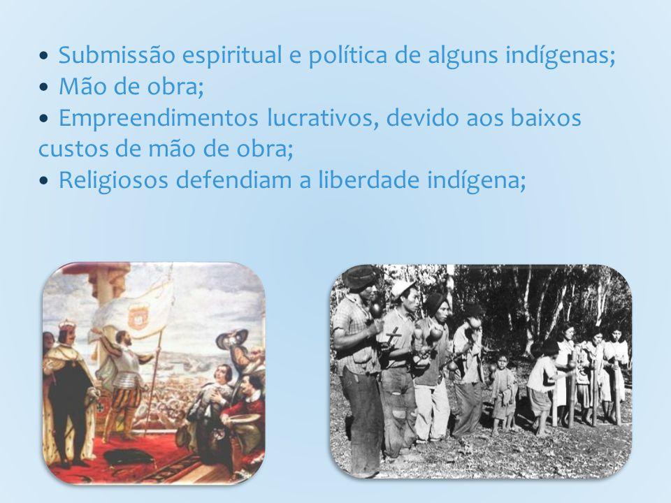 Submissão espiritual e política de alguns indígenas; Mão de obra; Empreendimentos lucrativos, devido aos baixos custos de mão de obra; Religiosos defendiam a liberdade indígena;