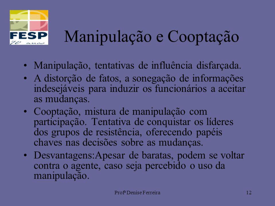 Profª Denise Ferreira12 Manipulação e Cooptação Manipulação, tentativas de influência disfarçada. A distorção de fatos, a sonegação de informações ind