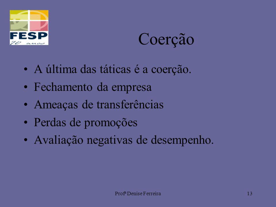 Profª Denise Ferreira13 Coerção A última das táticas é a coerção. Fechamento da empresa Ameaças de transferências Perdas de promoções Avaliação negati