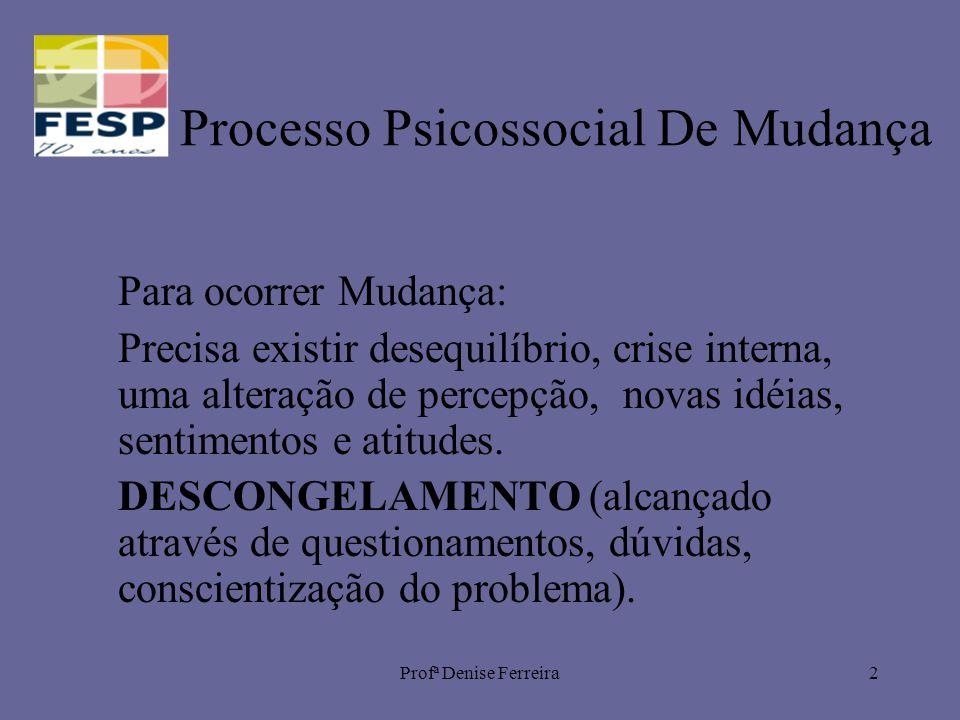 Profª Denise Ferreira2 Processo Psicossocial De Mudança Para ocorrer Mudança: Precisa existir desequilíbrio, crise interna, uma alteração de percepção
