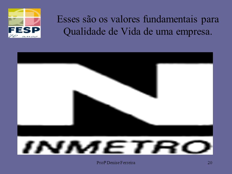 Profª Denise Ferreira20 Esses são os valores fundamentais para Qualidade de Vida de uma empresa.