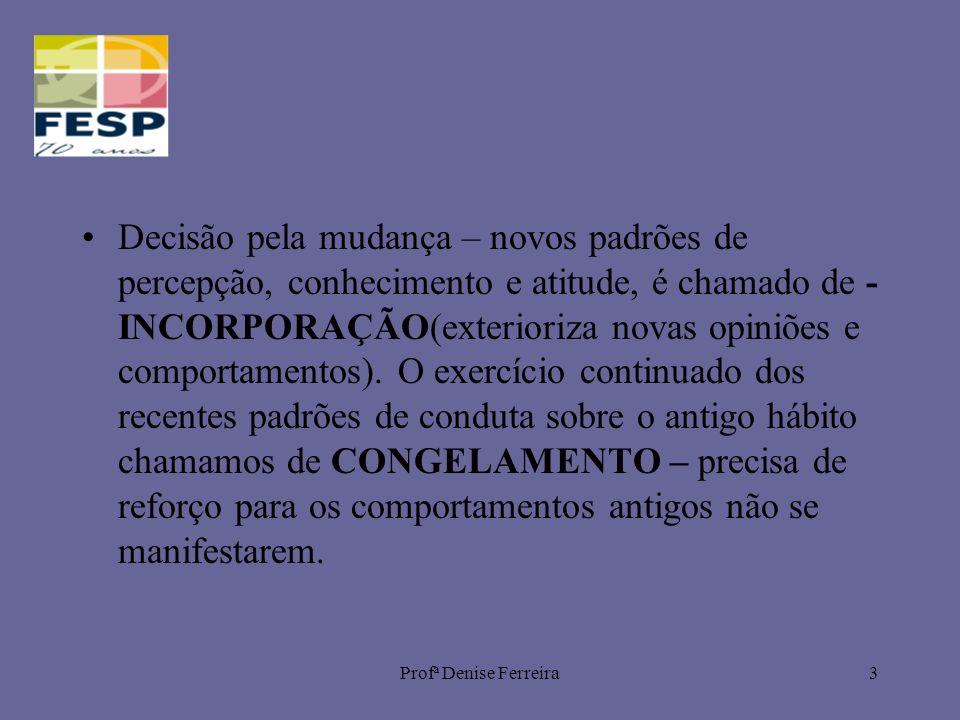 Profª Denise Ferreira3 Decisão pela mudança – novos padrões de percepção, conhecimento e atitude, é chamado de - INCORPORAÇÃO(exterioriza novas opiniões e comportamentos).