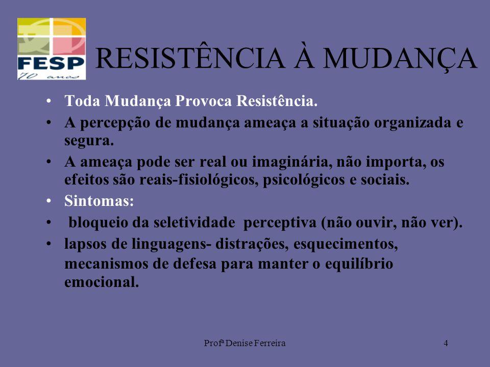 Profª Denise Ferreira4 RESISTÊNCIA À MUDANÇA Toda Mudança Provoca Resistência. A percepção de mudança ameaça a situação organizada e segura. A ameaça