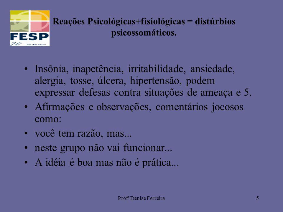 Profª Denise Ferreira5 Reações Psicológicas+fisiológicas = distúrbios psicossomáticos. Insônia, inapetência, irritabilidade, ansiedade, alergia, tosse
