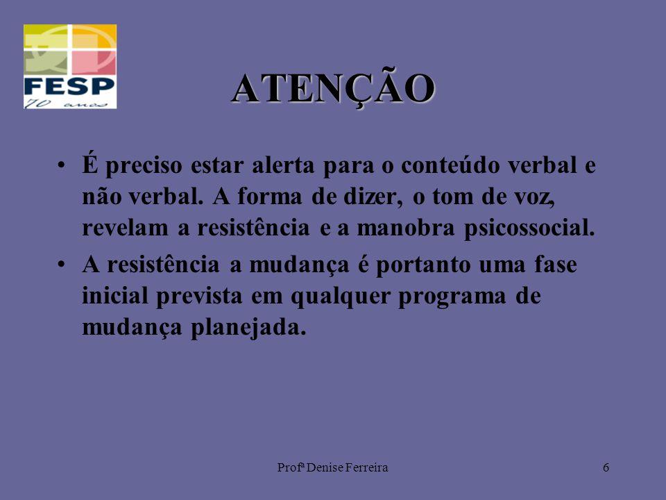 Profª Denise Ferreira6 ATENÇÃO É preciso estar alerta para o conteúdo verbal e não verbal. A forma de dizer, o tom de voz, revelam a resistência e a m