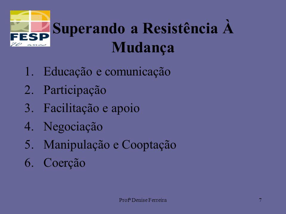 Profª Denise Ferreira7 Superando a Resistência À Mudança 1.Educação e comunicação 2.Participação 3.Facilitação e apoio 4.Negociação 5.Manipulação e Cooptação 6.Coerção