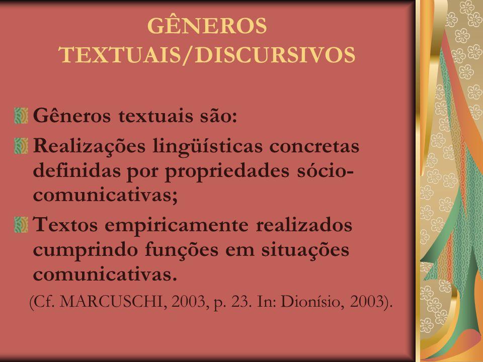 """""""Os gêneros discursivos contribuem na ordenação e estabilização das atividades de comunicação do cotidiano, sendo fenômenos históricos e entidades sóc"""