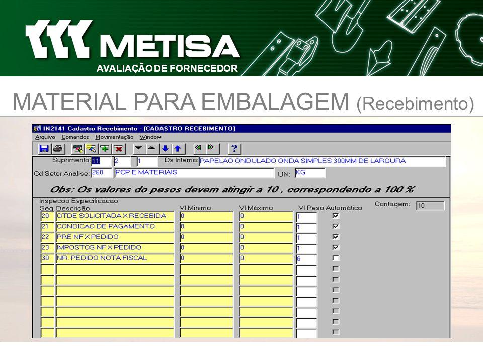 MATERIAL PARA EMBALAGEM (Recebimento) AVALIAÇÃO DE FORNECEDOR