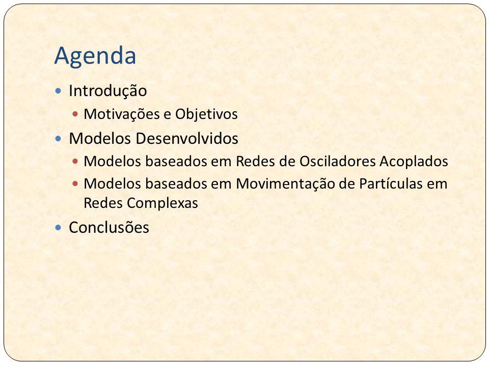 Agenda Introdução Motivações e Objetivos Modelos Desenvolvidos Modelos baseados em Redes de Osciladores Acoplados Modelos baseados em Movimentação de Partículas em Redes Complexas Conclusões