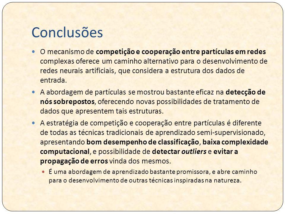 Conclusões O mecanismo de competição e cooperação entre partículas em redes complexas oferece um caminho alternativo para o desenvolvimento de redes neurais artificiais, que considera a estrutura dos dados de entrada.